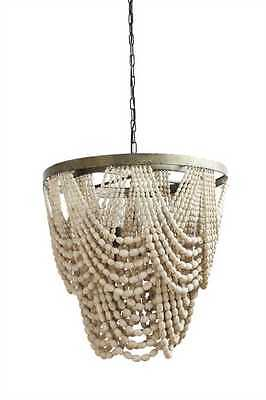 POTTERY BARN STYLE LARGE AMELIA STYLE NATURAL BEADED WOOD HIGH DESIGN CHANDELIER (Beaded Chandelier)
