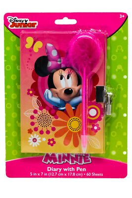 Disney Junior School Minnie Mouse Bow Diary with Marabou Pen Lock & Key 60 Sheet