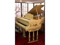Hand Painted Luxury Art Case Chinoiserie Style Stroud Baby Grand-Fully Restored