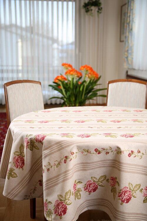 Gartentischdecken Tischdecken u. Kissenbezüge im Landhausstil mit Rosen