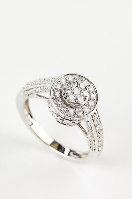 NIB KREMENTZ 14K White Gold Diamond Cluster Ring 14k Gold Diamond Cluster