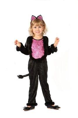Katzen-Kostüm für Mädchen schwarz-pink Cod.200955 ()