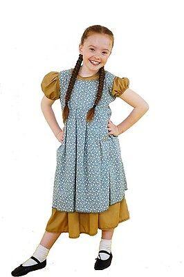 Annie Kleid Kostüm (annie-dance-orphan Viktorianisch hell braun Kleid & Blumenmuster Pinny -Damen)