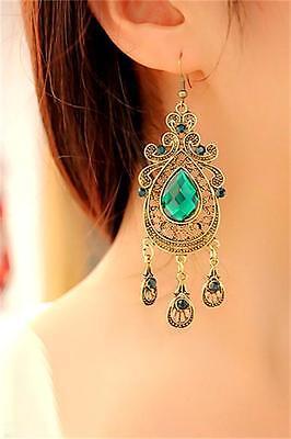 Emerald Green Chandelier - Vintage Style Green Crystal Emerald Long Dangle Chandelier Hook Earrings Jewelry