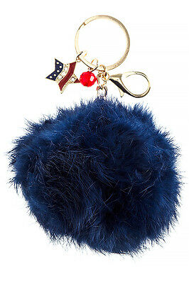 - Patriotic Star Charm Furry Pom Pom Key Chain Bag Purse Charm Navy