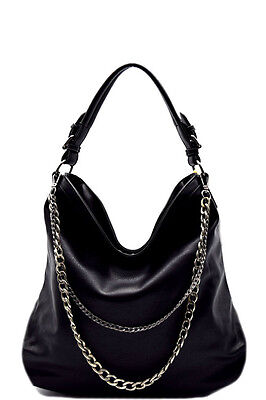 New Black Double Layered Chain Accent Hobo Handbag Purse
