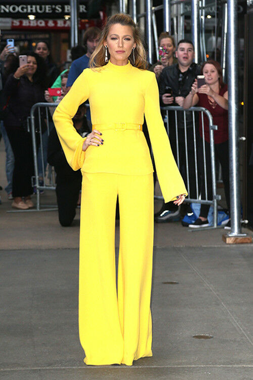 Blake Lively goes head-to-toe in a yellow belted pantsuit