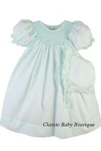 bdf0af580bb7 NWT Petit Ami Mint Smocked Bishop Daygown   Bonnet Newborn NB Baby Girls
