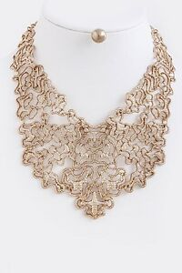 Copper Metal Lace Design Bib Fashion Necklace Set