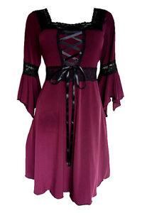 Plus-Size-Renaissance-Boho-Gypsy-Gothic-Corset-Medieval-LBD-Dress-Size-24-3x