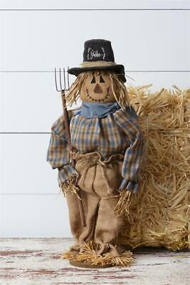 New Primitive Country Fall Rustic Halloween SCARECROW DOLL PITCH FORK Standing