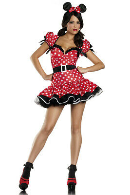 Sexy Minnie Flirty Mouse Disney Red Polkadot Dress Halloween Costume