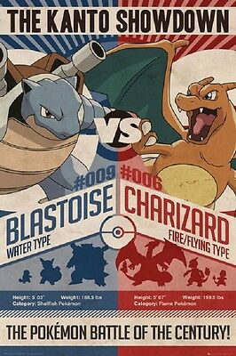 POKEMON THE KANTO SHOWDOWN BLASTOISE vs CHARIZARD POSTER, Size 24x36