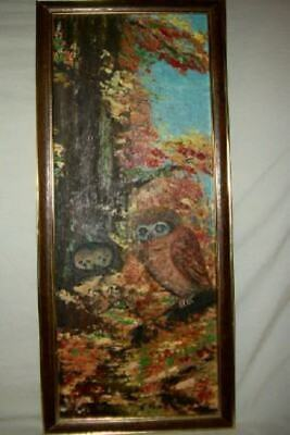 OWL OWLETS TREE OIL PAINTING LONG PRECIOUS DETAIL SIGNED VINTAGE MID CENTURY