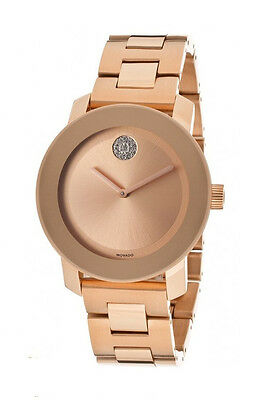 New Movado Bold Rose Gold-Tone Stainless Steel 38mm Unisex Watch 3600086