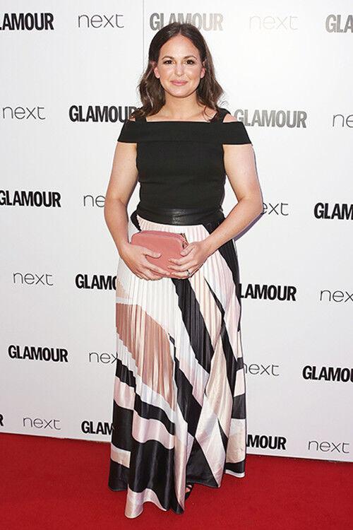 Giovanna Fletcher works a pretty pleated pattern