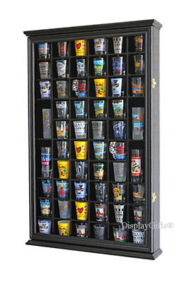 Shot Glass Display Case - 56 Shot Glass Display Case Holder Cabinet  Rack Wall Shadow box- Black SC56-BL
