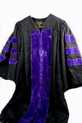 "Oak Hall Academic Doctoral Gown Black w/ Purple Velvet Trim, Size 3 (5'7 - 5'9"")"