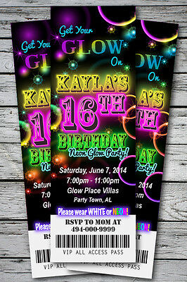 Sweet 16 GLOW in the Dark Theme NEON DISCO Birthday Party Invitation TICKET Stub - Sweet 16 Theme