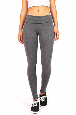 Yoga  Womens Athletic Foldover Stretch Gym Form Fitted Tight Soft Pants