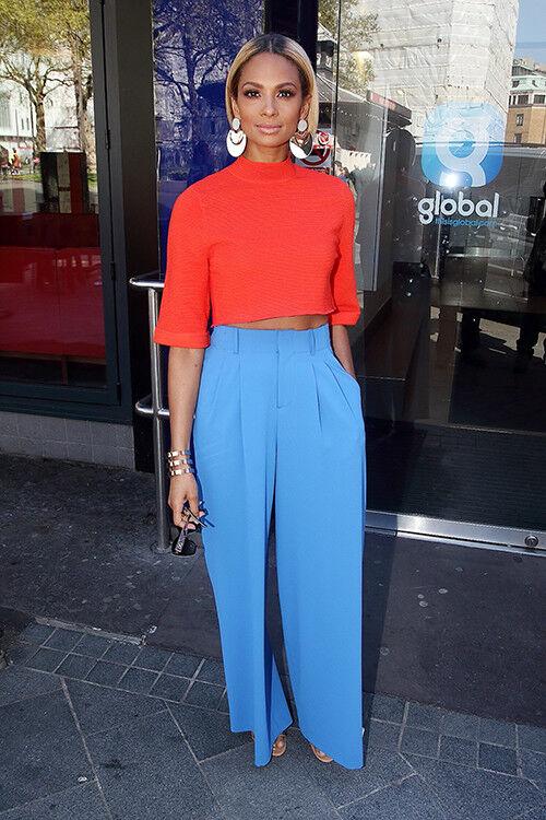 Alisha Dixon pairs red and bright blue tones