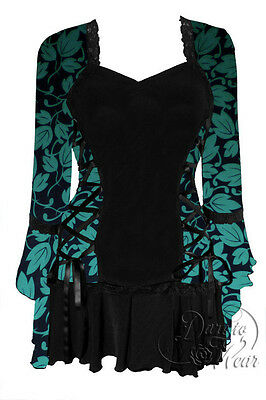 Plus Size Black Gothic Poison Ivy Bolero Lacing Corset Top 1X 2X 3X 4X 5X (Green Corset Poison Ivy)