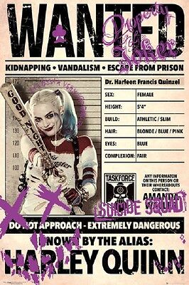 Harley Quinn Wanted Poster Fea  Margot Robbie Suicide Squad Poster 24X36
