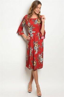 Gilli - 3/4 sleeve High Neck Floral Tunic Midi Dress - (High Neck Floral Tunic)
