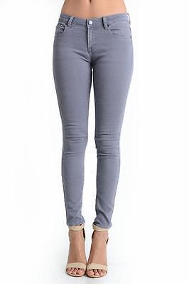 Women Gray Denim Stretch Cotton Low Rise Waist Skinny Leg Fit Jeans 171 mv -