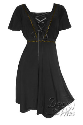 Dare to Wear Victorian Gothic Plus Size Angel Corset Dress in Black Gold (Gothic Formal Wear)