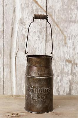 VINTAGE 1843 MILK CAN Rustic Tin French Vintage Bucket Vase Country Primitive - Tin Vase