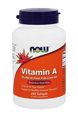 Vitamin A (Fish Liver Oil) 25000 IU 250 Softgels - NOW -