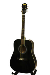Black acoustic guitar for beginners brand new