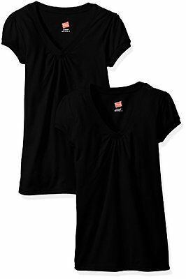 Hanes Womens Activewear Little Girls Shirred V-Neck Tee (Pack of 2) ()