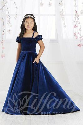Tiffany Princess 13566 Royal Blue Velvet Girls Pageant Gown Dress sz 8 - Girls Tiffany Blue Dress
