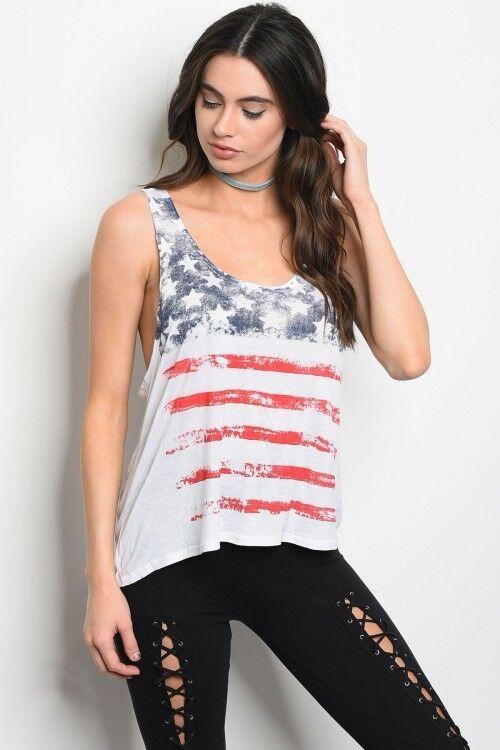Women's American Flag 4th of July tank top  Beach wear
