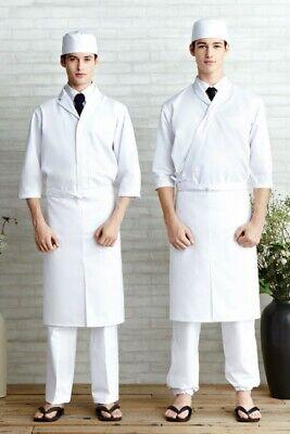 Japanese Restaurant Traditional Sushi Chef Uniform Coat And Chef Apron White