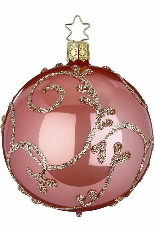 Inge-Glas Ball 8cm Rococo Candy Pink Pearl 21316T008 German Glass Christmas Orn