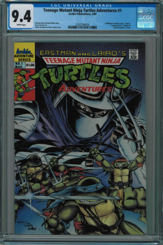 TEENAGE MUTANT NINJA TURTLES ADVENTURES #1 CGC 9.4 WHITE PAGES 1989