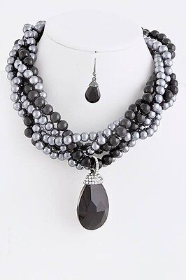 D15 Twisted Black Gray Pearl Crystal Pendant Necklace Earring Set Boutique ()