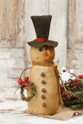 Primitive Country Burlap Snowman with Scarf and Wreath  Winter/Christmas - Country Snowman