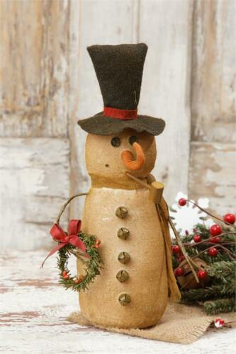 """Primitive Country Burlap Snowman with Scarf and Wreath  Winter/Christmas 10"""""""