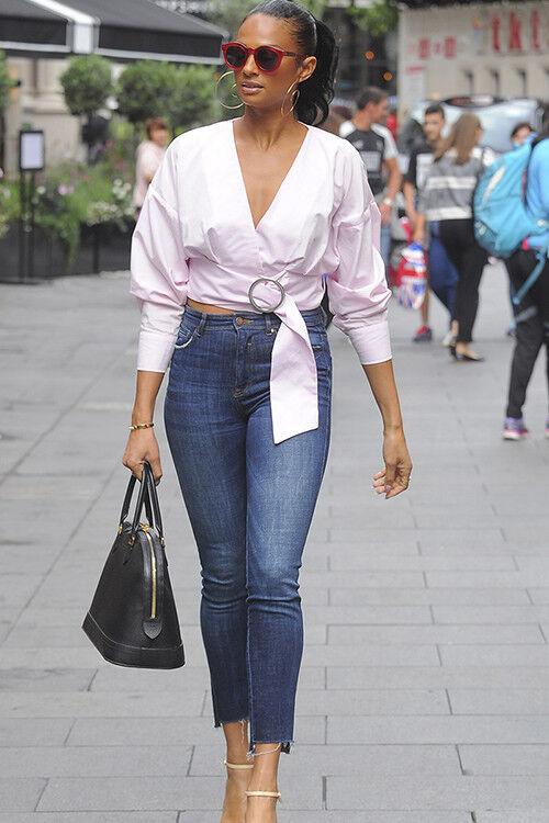 Alesha Dixon wears indigo mom jeans