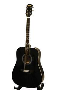Back to School Sales ! Acoustic Guitar for beginners Black / Natural 41 inch full size
