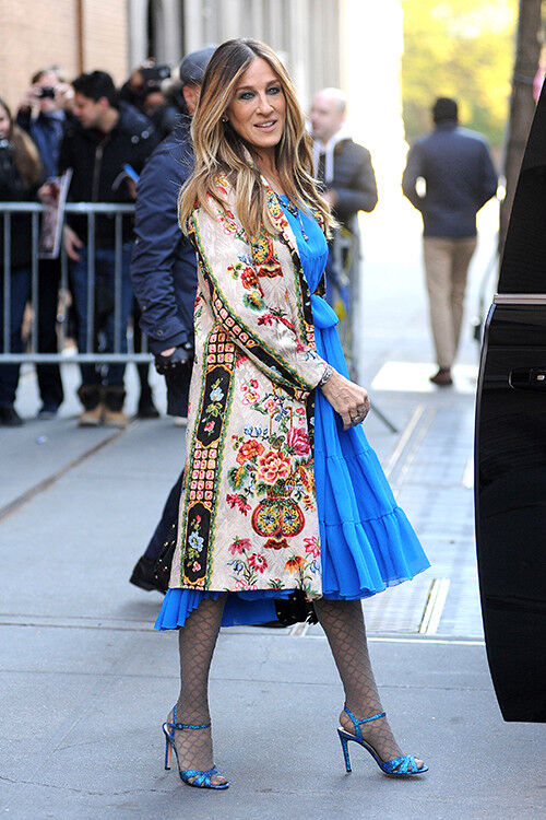 Sarah Jessica Parker wears an embroidered jacket