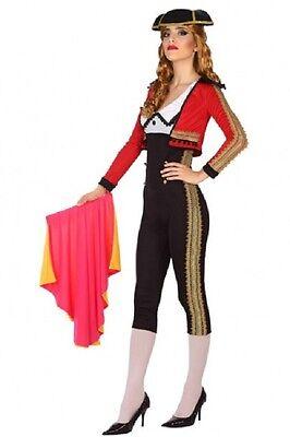 Costume Woman TORERO Black Red XL 44 Matador Spanish Torera NEW - Torero Costume