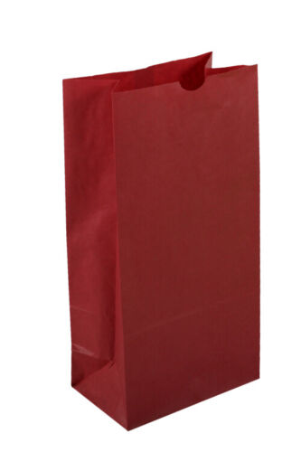 500 Large Red Paper Lunch Bags - 10# SOS (6 9/16 x 4 1/16 x 13 3/16)