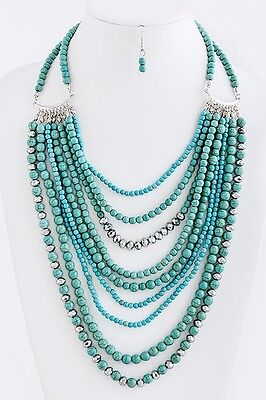D15 9 Strand Natural Stone Turquoise Green Mint Silver Layered Chain Necklace
