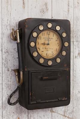 "New Primitive Vintage Antique Style Black Phone Wall Clock Cabinet Key Hooks 18"""