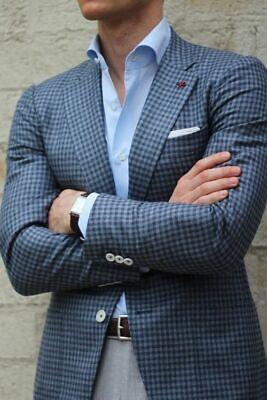 Blue Men Suit Plaid Classic Tuxedo Notch Lapel Godfather Wedding Blazer Tailored Classic Tailored Blazer